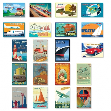 Vintage Style Travel Posters Set of 20