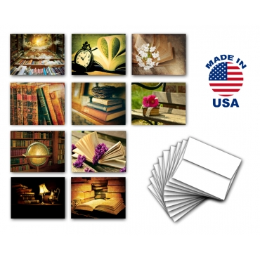 Books Note Cards Set of 10