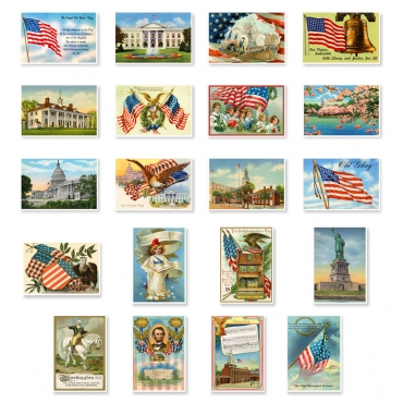 Patriotic Vintage Reprints Set of 20