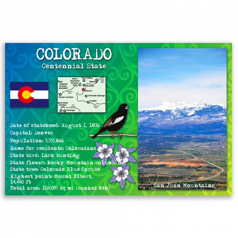 Colorado State Facts Postcard